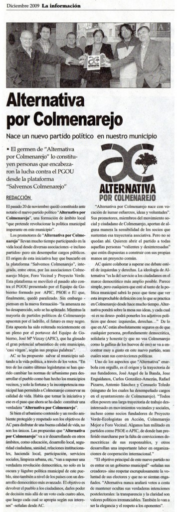 Artículo de La Información (diciembre de 2009)